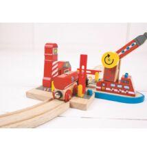 Fa vonat szett, Tűzoltó egység (Bigjigs, építőjáték kiegészítő, 2-8 év)