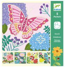 Rajzsablonok, Kerti szárnyak - Garden wings (Djeco, 8816, stencil készlet, 4-8 év)