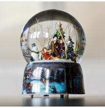 Óriás zenélő karácsonyi hógömb, Korcsolyázó család (ajándéktárgy, 3-99 év)