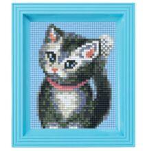 Pixelhobby képkészlet , Szürke cica (Pixelhobby, 1 alaplapos, kerettel, csipesszel)