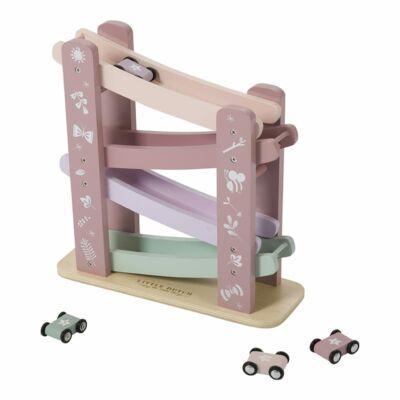 Versenypálya kisautókkal, Little Dutch fa szerepjáték, rózsaszín (4374, 18 hó-5 év)