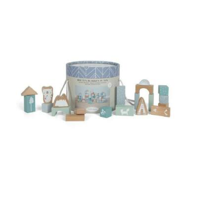 Építőkockák dobozban, 50 db-os Little Dutch fa bébijáték, kék  (4413, 2-7 év)