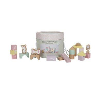 Építőkockák dobozban, 50 db-os Little Dutch fa bébijáték, rózsaszín (4412, 2-7 év)