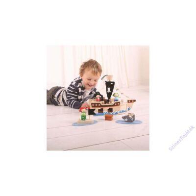 Fa játék készlet, Kalózhajó (Bigjigs, 30 db-os fajáték, 2-8 év)
