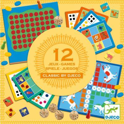Társasjáték gyűjtemény, 12 játék (Djeco, 5218, klasszikus játékok, 4-99 év)