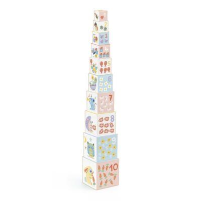 Toronyépítő kocka, Pasztell barátok (Djeco, 6103, bébijáték, 1-3 év)