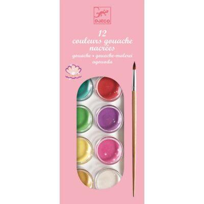 Vízfesték készlet, gyöngyházfényű, 12 szín (Djeco, 9739, kreatív játék, 2-10 év)