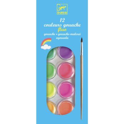Vízfesték készlet, neon, 12 szín (Djeco, 9759, kreatív játék, 2-10 év)