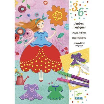 Színező, Marie csinos ruhái (Djeco, 9886, kreatív készlet, 3-6 év)