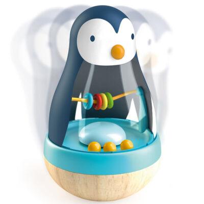 Keljfeljancsi csörgő, Pingvin (Djeco, 6407, fa bébijáték, 0-2 év)