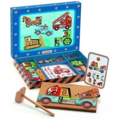 Kalapáló játék, Járművek (Djeco, 6641, kreatív építőjáték, 4-8 év)