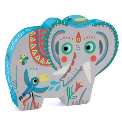 Formadobozos puzzle, Haathee, ázsiai elefánt (Djeco, 7208, 24 db-os kirakó, 3-6 év)