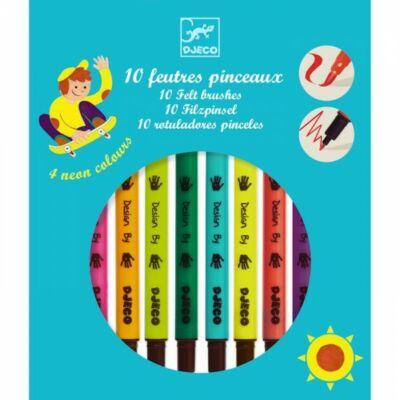 Ecsetfilc készlet, Élénk színek (Djeco, 8799, 10 db-os kreatív játék, 3-12 év)