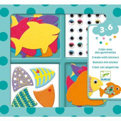 Matricázó képkészítés - Halak - I love fishes (Djeco, 9052, kreatív játék, 3-6 év)