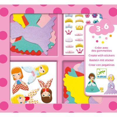Matricázó képkészítés - Hercegnők - I love princesses (Djeco, 9053, kreatív játék, 3-6 év)