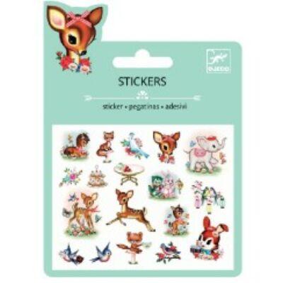 Csillámos matrica, mini, Vintage animals (Djeco, 9778, kreatív játék, 3-10 év)