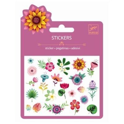 Csillámos matrica, mini, Trópusi virágok (Djeco, 9780, kreatív játék, 3-10 év)