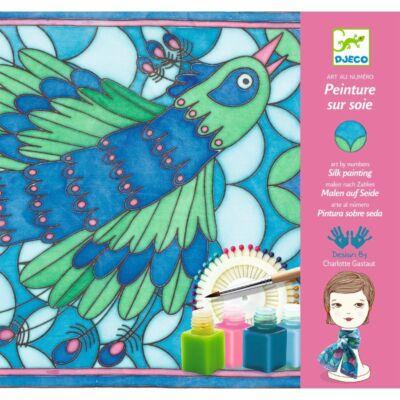 Selyemfestő, Páva (Djeco, 9850, kreatív játék, 8-99 év)