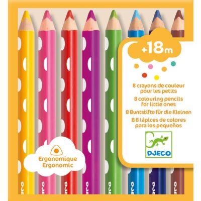 Színes ceruza kicsiknek, 8 db-os (Djeco, 9004, írószer, 1,5-8 év)