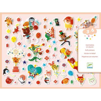 Puffi matrica szett, 118 db-os - The Party (Djeco, 9080, kreatív játék, 3-6 év)