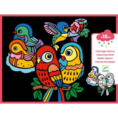 Bársony színező, Baby birds (Djeco, 9099, kreatív készlet, 3-6 év)