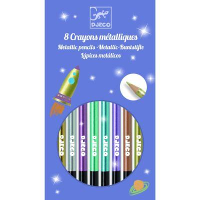 Metál színes ceruza, 8 db (Djeco, 9753, kreatív készlet, 6-12 év)