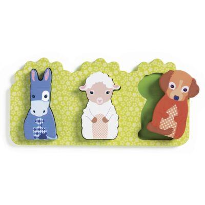 Fa formaberakó, Házi állatok, Rosalie (Djeco, 1070, 5 db-os fa bébijáték, 1-3 év)