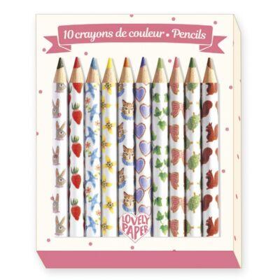 Mini színes ceruza, 10 db (Djeco, 3725, kreatív készlet, 6-12 év)