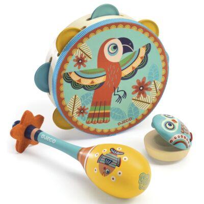 Játékhangszer készlet, Tambourine, maracas, castanet (Djeco, 6016, játékhangszer, 3-6 év)