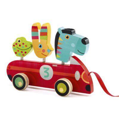 Húzhatós játék, Zebro és barátai az autósversenyen (Djeco, 6238, fa bébijáték, 1-3 év)