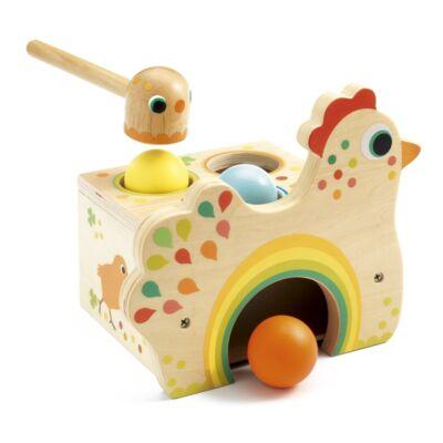Kalapálós golyós játék, Tapatou tyúk(Djeco, 6305, fa bébijáték, 1-3 év)
