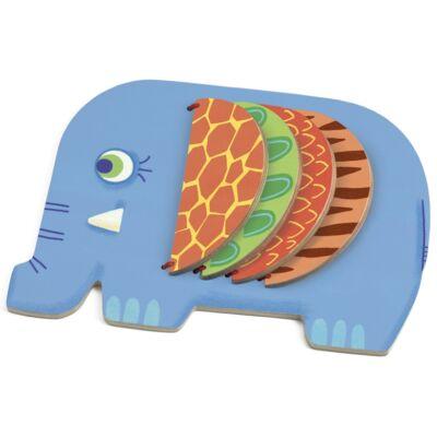 Fa könyv, Moussa, Az elefánt (Djeco, 6342, fa bébijáték, 10 hónapos-2 év)