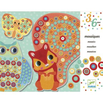 Milfiori (Djeco, 8897, állatos mozaikkép készítő, 3-6 év)