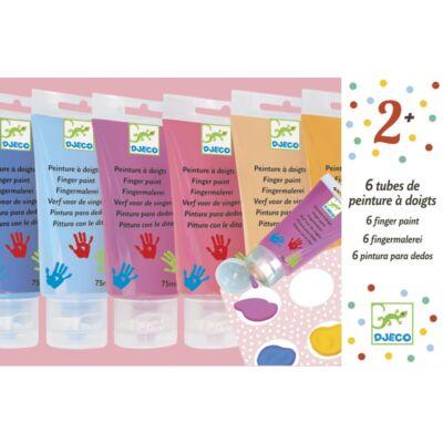 Ujjfesték tubusban, 6 szín, lányos (Djeco, 9000, kreatív készlet, 2-12 év)