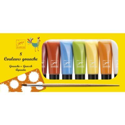Vízfesték készlet, Gouache, 8 színű, classic (Djeco, 9746, vízfesték, 3-12 év)