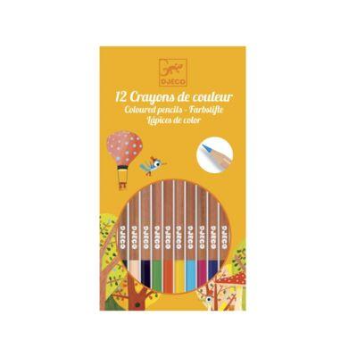 Színes ceruza készlet, 12 színű (Djeco, 9751, színes ceruzák, 3-12 év)
