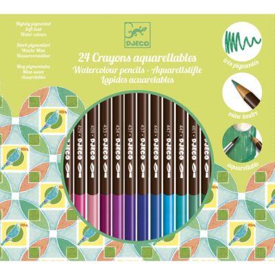 Akvarell ceruza készlet, 24 színű (Djeco, 9754, kreatív játék, 6 - 99 év)
