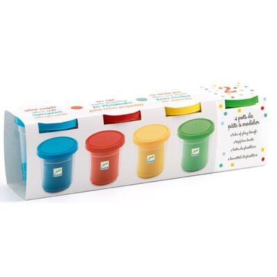 Pille gyurma, 4 szín (Djeco, 9756, kreatív készlet, 2-8 év)