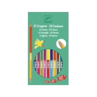 12 duplavégű színes ceruza (Djeco, 9758, színes ceruza, 3-12 év)