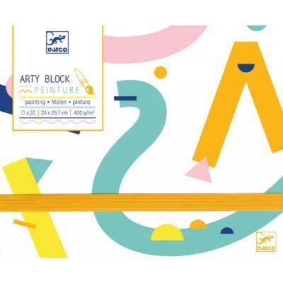 Arty Block, Rajzlap festéshez - mappában (Djeco, 8787, papír írószer 4-99 év)