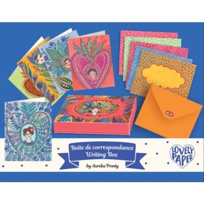 Lovely Paper, Levél szett, Aurelia writing set (Djeco, 3608, papír írószer 6-99 év)
