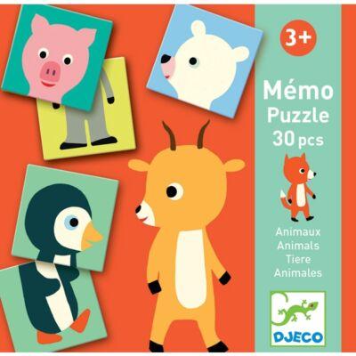 Memóriajáték - Fél állat párosító - Memo Animo-puzzle (Djeco, 8126, kirakó, 3-6 év)