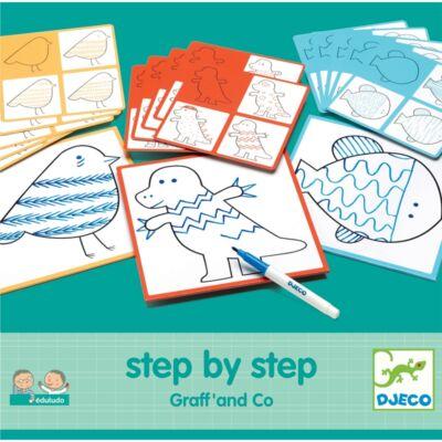 Vonalvezetés - Step By Step Graff' and Co (Djeco, 8324, iskolaelőkészítő játék, 3-6 év)