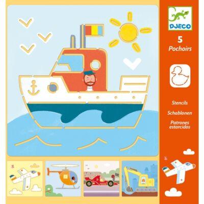 Rajzsablonok, Járművek és társaik - Transports & co (Djeco, 8819, stencil készlet, 4-8 év)