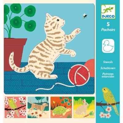 Rajzsablonok, Aranyos állatok - Cute companions (Djeco, 8820, stencil készlet, 4-8 év)