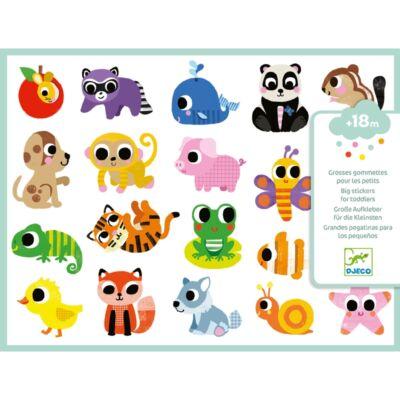 Nagy méretű matricák - Bébi állatok (Djeco, 9084, kreatív játék, 18 hónapos kortól)
