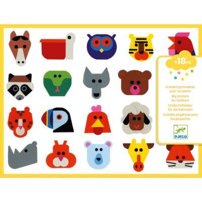 Nagy méretű matricák - Állatfejek (Djeco, 9089, kreatív játék, 18 hónapos kortól)