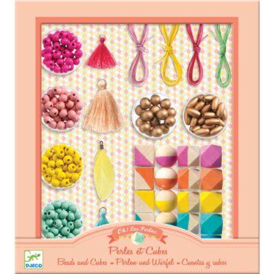 Ékszerkészítő, Fagyöngyök és kockák - Beads and cubes (Djeco, 9800, kreatív játék, 8-12 év)
