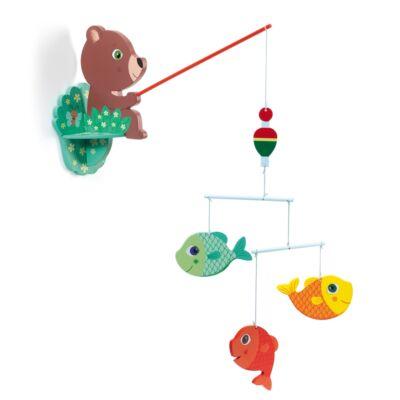 Függődísz, Horgászó mackó - Fisherbear (Djeco, DD04354, gyerekszoba dekor, 0-12 év)