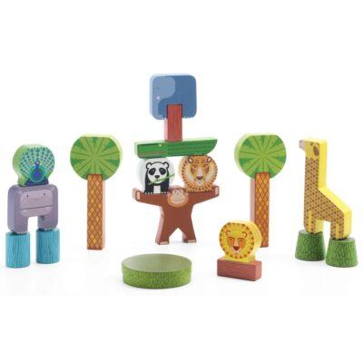Fa építőkocka, Dzsungel állatok (Djeco, 6431, fajáték, 1-6 év)